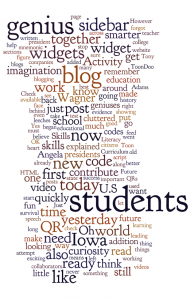 Teacher Challenge Blog Posts in a Wordle