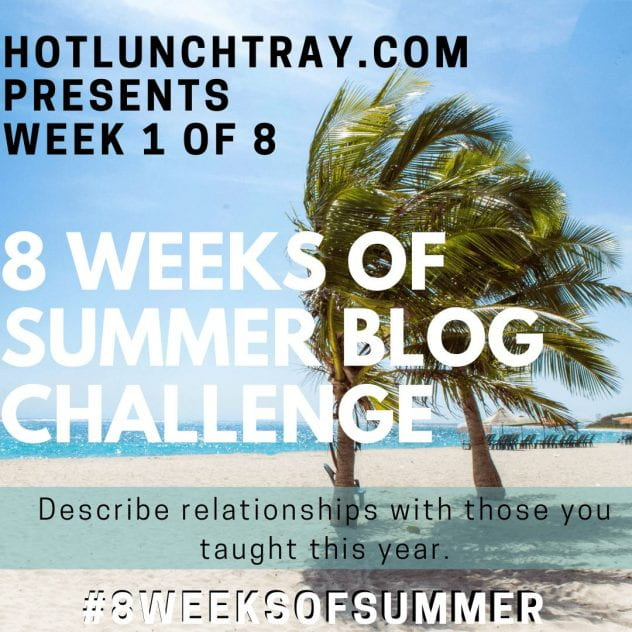 Hotlunchtray.com presents Week 1 of 8 - 8 Weeks of Summer Blog Challenge with prompt on tropical island background