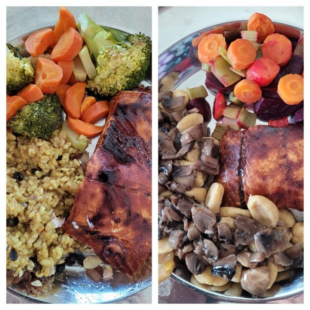 Two plates of food with veggies, rice or pasta and salmon.